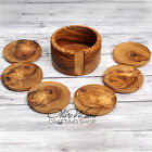 Sale Handcrafted Olive Wood Set of 6 Drink Coasters with Container