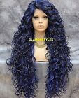 Hand Tied Monofilament Spiral Curls Black Blue Mix Lace Front Full Wig Heat Ok