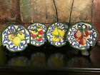 4 Fitz & Floyd Classic FLORENTINE FRUIT Plates Apple Lemon Pomegranate Pear