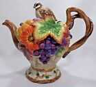 Fitz & Floyd Autumn Bounty Lidded Quail Teapot Fall Colors Thanksgiving Retired