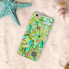 Turquoise flowers Customized clear iPhone case with design TPU protection cute