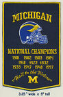 UNIVERSITY OF MICHIGAN Wolverines Football Championships Banner Patch Harbaugh
