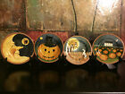 4 Sakura David Carter Brown PUMPKIN HOLLOW Halloween Decor Salad Plates NEW