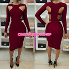 USA Women Ladies Sexy Hollow Out  Long  Sleeve Body con Bandage Club Party Dress