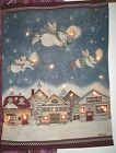 Exc. Cond! Debbie Mumm Snow Angel Village Lighted Tapestry Wall Hanging Holiday