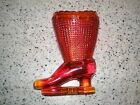 VTG Victorian Red-Orange Glass Boot by L E Smith Toothpick / Match Strike Holder