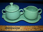 Retired Fiesta Sea Mist Green Sugar Creamer & Lid Figure 8 Tray Mint Perfect