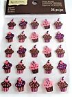 RECOLLECTIONS CUPCAKE BIRTHDAY Jeweled Sparkle Repeats 3D Scrapbook Stickers