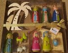 Hallmark 11pc Nativity Set Omura Collection Wood Manger  Tree W Resin Figures