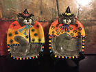 2 FITZ FLOYD HALLOWEEN CAT KITTY WITCHES SPIDERS CANAPE PLATE PLATTER 2063/73