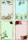 4 ROSE LIBRARY CARDS VINTAGE STYLE 155 LB SCRAPBOOK PAPER CRAFT CARD TAGS L
