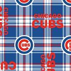 MLB CHICAGO CUBS FLEECE PLAID FABRIC MATERIAL Fabric Sold By The Yard NEW