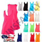 Womens 100Cotton Loose Fit Tank Top Basic Relaxed Flowy Sleeveless Shirt S M L