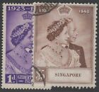 SINGAPORE KGVI 1948 Silver Wedding Set Scott 21 22 SG31 32 Used cv 51