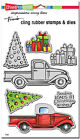 STAMPENDOUS TRUCK TIDINGS CHRISTMAS Cling Stamps  Die Set CLD01