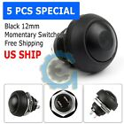 Black 5 Pcs M4 12mm Waterproof Momentary ON OFF Push Button Round SPST Switch