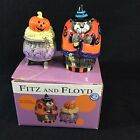 Fitz and Floyd Halloween Kitty Witches Cat Salt and Pepper Shakers