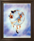 Dreamcatcher Native American Wall Decor Art Brown Rust Framed Picture 19x23