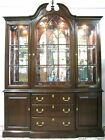 Ethan Allen Solid Cherry Illuminated Breakfront China Cabinet; Bubble Glass