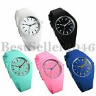 Fashion Jelly Silicone Strap Sport Quartz Analog Womens Girl Ladies Wrist Watch