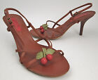 Nativa shoes 9 M red wood cherries strappy sandals brown and green leather