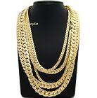 Mens Miami Cuban link Chain 5mm to 12mm 8 9 20 22 24 26 30 Gold Plated