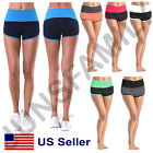 Women Two Tone Dolphin Fold Over Waistband Athletic YOGA GYM Active Shorts Pants