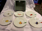 Crate And Barrel NEW in box Set of 6 Nancy Green Appetizer Tibits Plates JAPAN