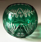 BOHEMIAN CZECH Emerald Green Cut to Clear Crystal Glass ROSE BOWL VASE, MINT!