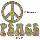 Hippie Peace Sign Symbol Bumper Sticker Decal Paisley Tie Dye Colorful Flowers