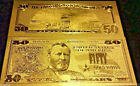 X (7) 24Kt.^ GOLD ^GLITTER~ LUCKY $50.00  REP. * BANK NOTE Wd3a buying 7