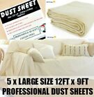 5 X HEAVY DUTY 12FT X 9FT COTTON TWILL PROFESSIONAL DECORATING LARGE DUST SHEETS