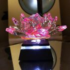 Large Laser Cut 5 Pink Crystal Lotus Flower Paperweight PLUS LED Light Base