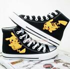 Cute Pokemon Pocket Pikachu Black Hand Printed Lacing Up Anime Canvas Shoes NEW