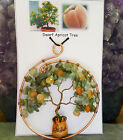 Apricot Tree Gemstone Wire Art Bonsai Suncatcher in Mini Flower Pot 3x35