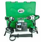 Hitachi 18V Li-Ion Combi Drill and Impact Driver Twin Pack Power Tools Set W/
