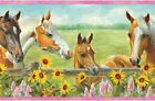 Horses and Flowers Wallpaper Border GU92073B Colt Girls Pink