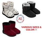 NEW WOMENS DEARFOAMS SWEATER KNIT 2 BUTTON BOOTIE SLIPPERS IN OUTDOOR VARIETY