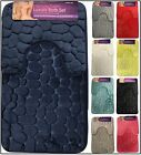 Bath Mat Set Non Slip Rubber Pedestal Mat Toilet Rug Memory Foam Bathroom Pebble