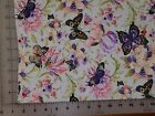 Florals and Butterflies Flannel Cotton Fabric BTY NEW 44 Purples Pinks Greens