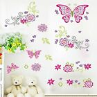 Amaonm Removable DIY Pink Red Cute Cartoon Flowers Flower Vines Butterfly Wall