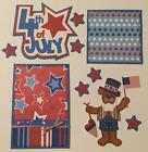 4TH OF JULY Title  sewn mat set for Premade Scrapbook Page