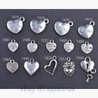 10 50 Pieces 14 Style Heart Charms made With Love Tibetan Silver DIY Jewelry