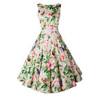 Summer Women's Vintage 50s 60s Floral Print Casual Weding Tea Sleeveless Dress