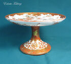 Antique Kutani Rust and Gold Pedestal Plate with a Peacock in a Garden Setting