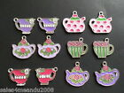 12 Enamel Spring Teacup Tea Party Charms Scrapbooking Jewelry TC12