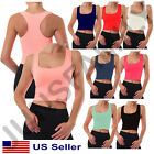 Womens Crop Cropped Scoop Neck Racer Back Basic Tank Top T Shirts Tee Cotton
