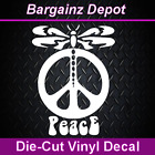 Vinyl Decal  DRAGONFLY PEACE SIGN  Awesome Car Laptop Vinyl Sticker Decal