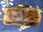 30'S 40'S FUR CLUTCH PURSE HAND BAG WITH LUCITE 1930'S 1940'S