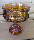 Vintage Indiana Glass Co Kings Crown Thumbprint Amber Iridescent Footed Compote